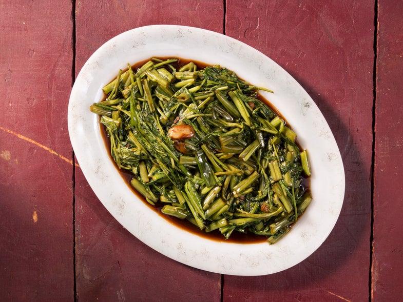 Philippine Vinegar-Braised Greens (Kangkong Adobo)