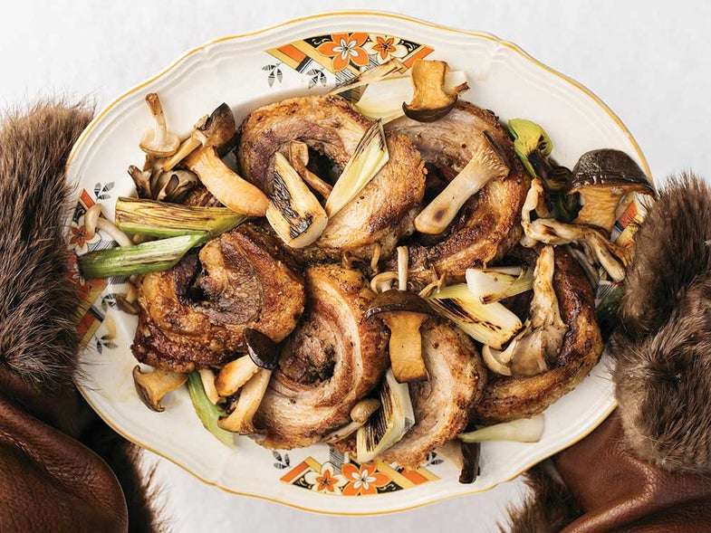 Finnish Twice-Cooked Pork Belly with Pickled Mushrooms and Leeks