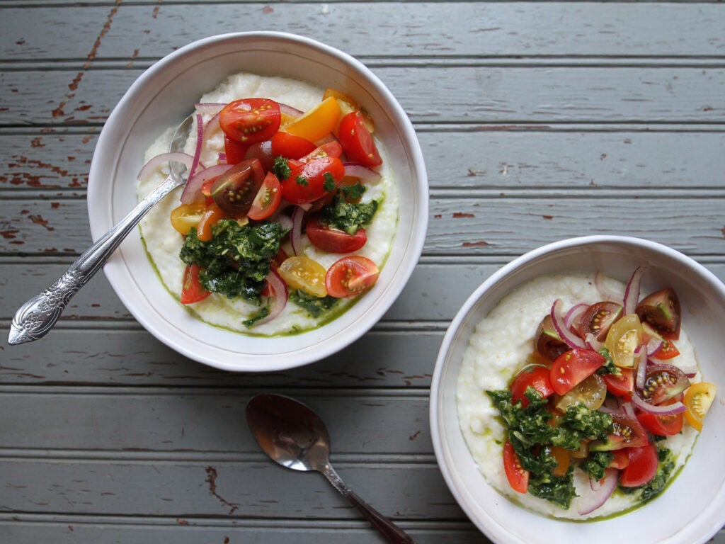 Summer Polenta with Chimichurri and Tomatoes