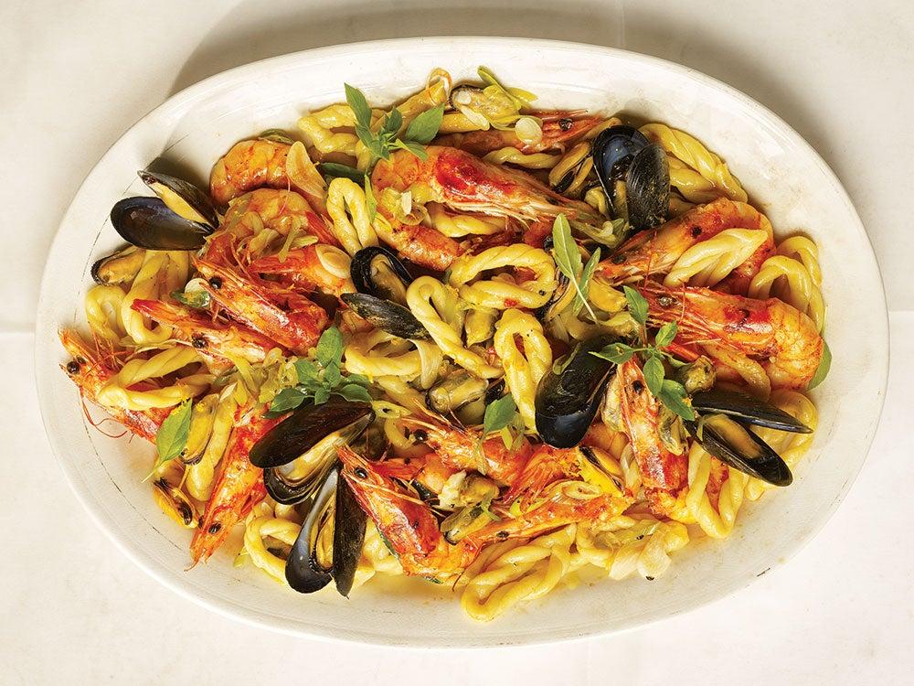 Lorighittas with Shrimp, Mussels & Orange
