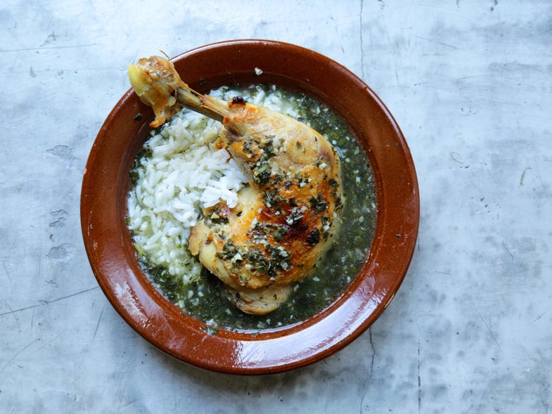 Braised Egyptian Greens With Crispy Chicken (Egyptian Molokhia)