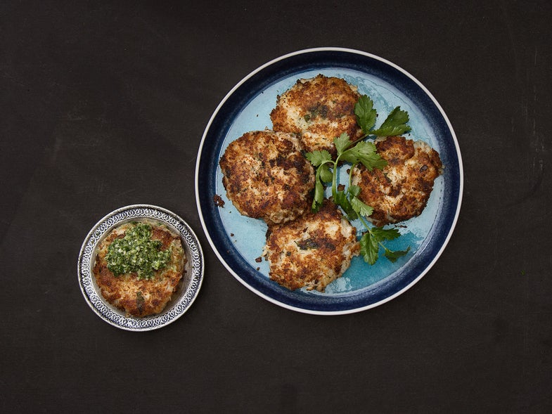 Fish and Potato Tikkis with Chile and Lime