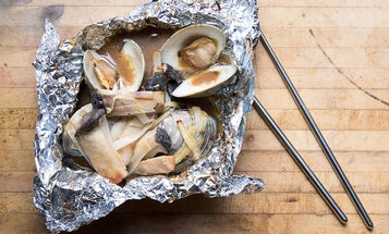 Clam, Leek, and King Oyster Mushroom Foil Yaki