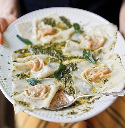 Butternut Squash Ravioli with Oregano-Hazelnut Pesto