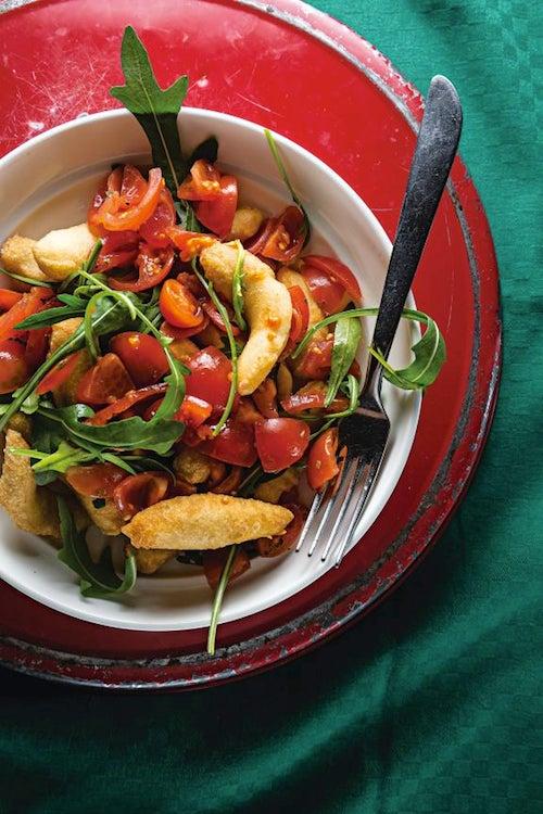 Fried Dough with Arugula and Grape Tomatoes (Angioletti Fritti con Rucola e Pomodori)