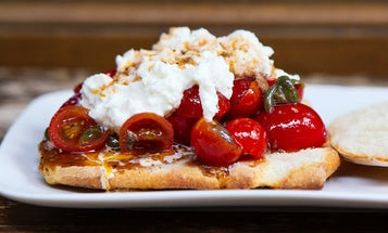 Burrata and Marinated Cherry Tomato Sandwiches