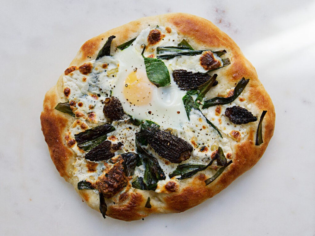 Pizza with Ramps, Morels, and Eggs