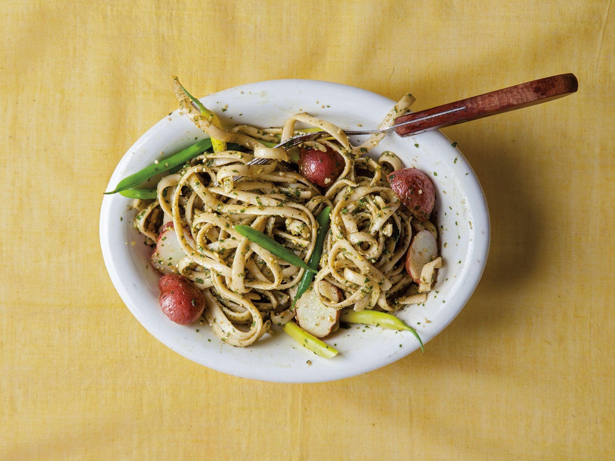 Trenette with Pesto, Beans & Potatoes