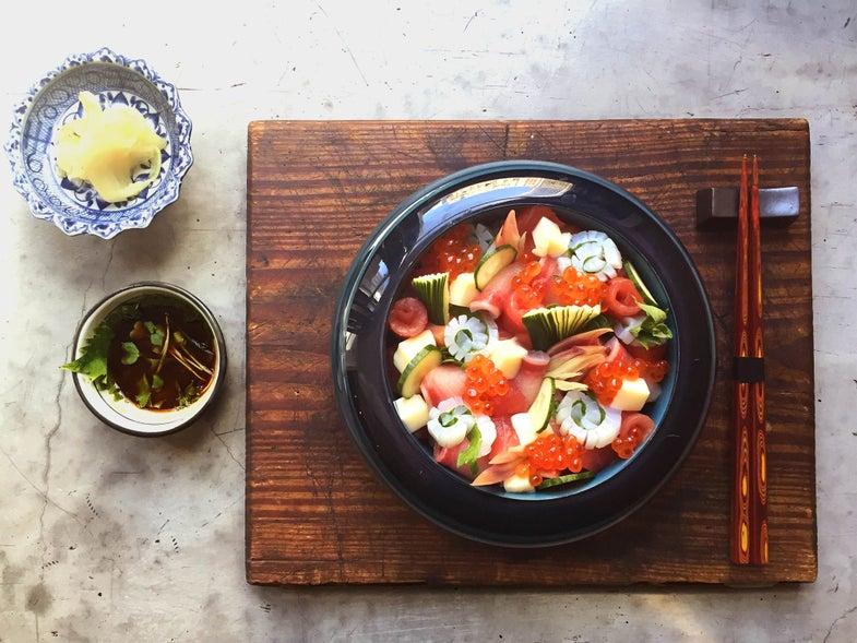 Japanese Sashimi and Rice (Chirashi)