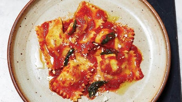 Anzelottos Stuffed with Swiss Chard topped with Pomodoro Sauce