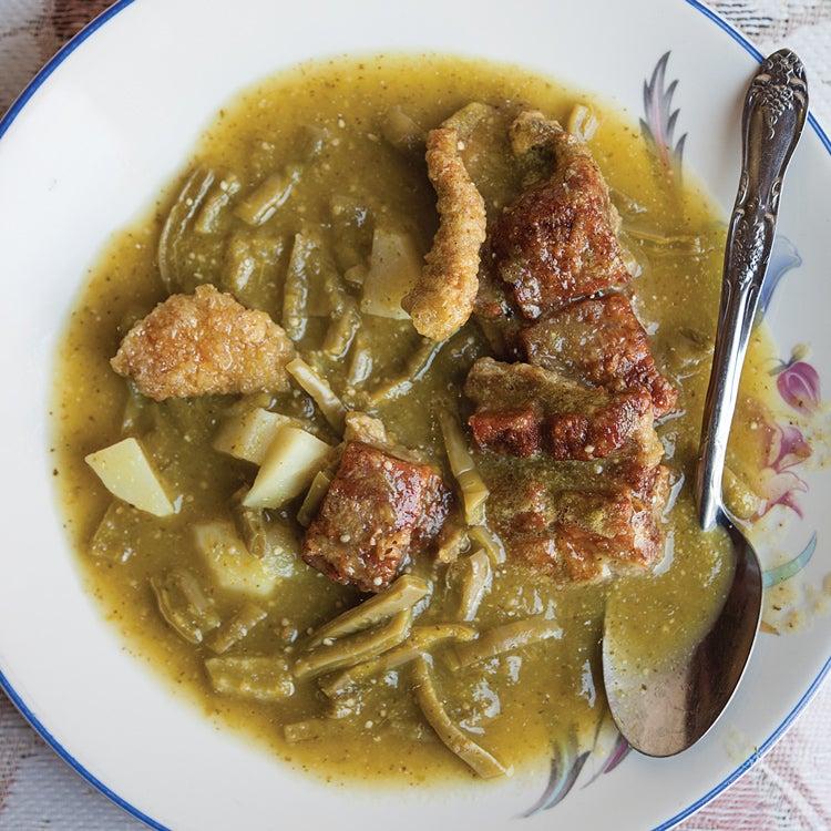 Nopales (Cactus) and Tomatillo Stew (Sopa de Nopal)