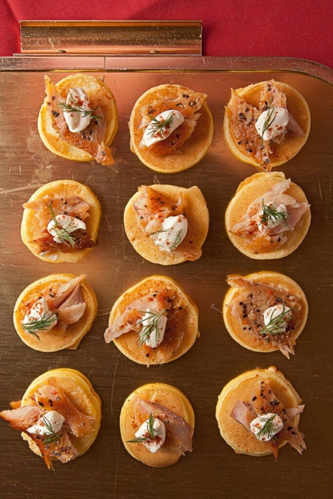 Smoked Trout Blinis with Crème Fraîche and Dill