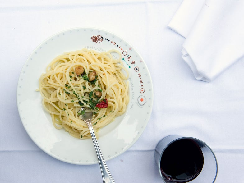 Spaghetti with Garlic, Olive Oil, and Peperoncino Chiles