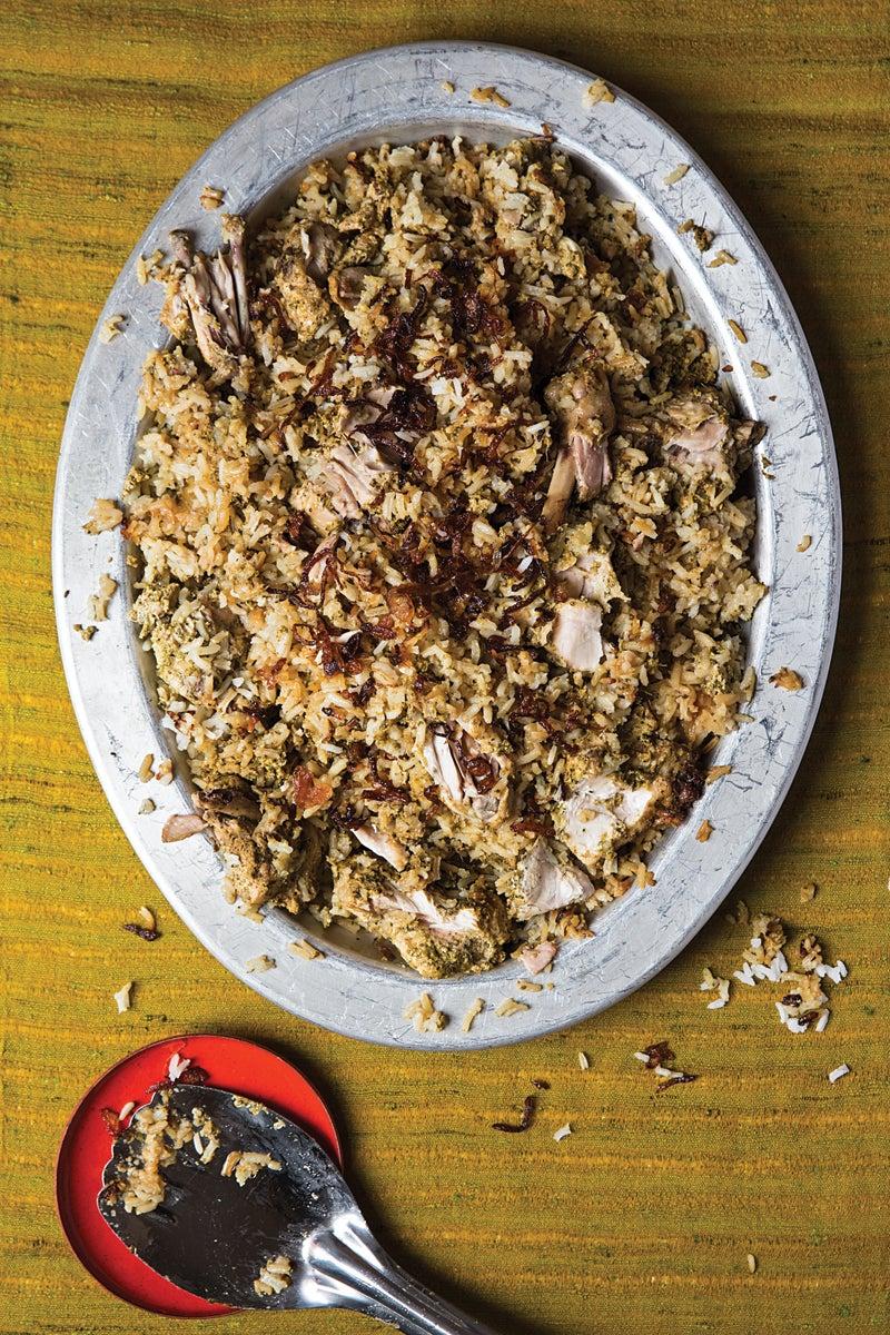 Kachi Yakhni Biryani  (Hyderabadi-Style Steamed Chicken and Rice)
