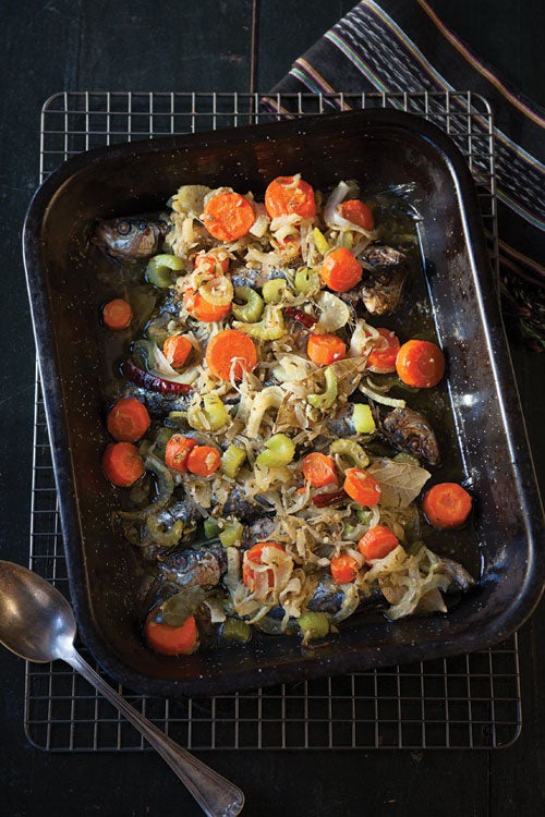 Olive Oil-Braised Sardines with Fennel