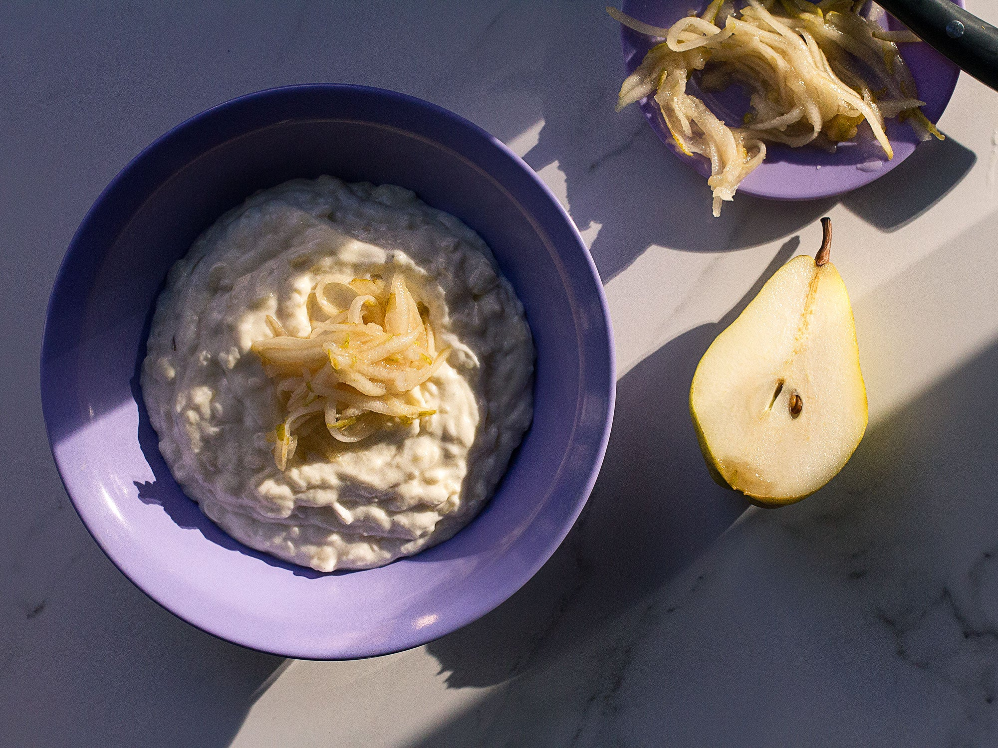 Lavender Rice Pudding with Pears