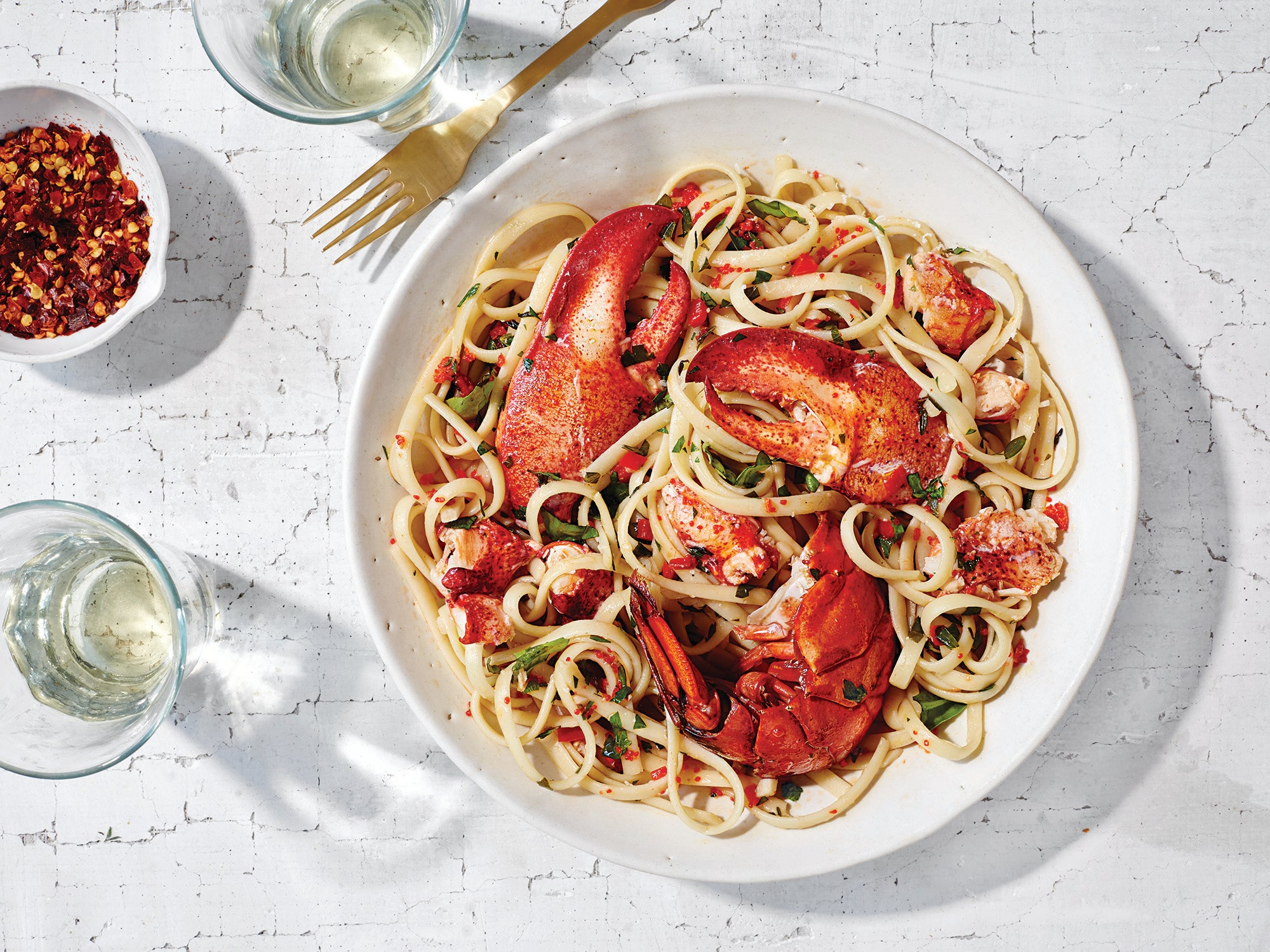 Lobster Linguine with Chilies at Irene – Florence Italy