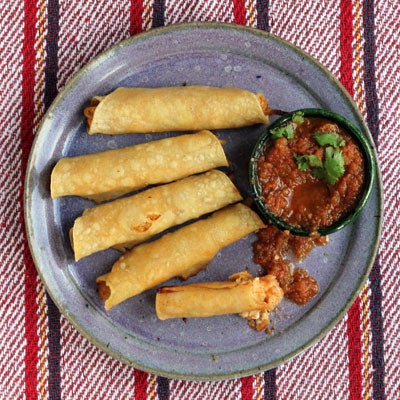 Chicken Flautas with Cotija and Salsa Roja