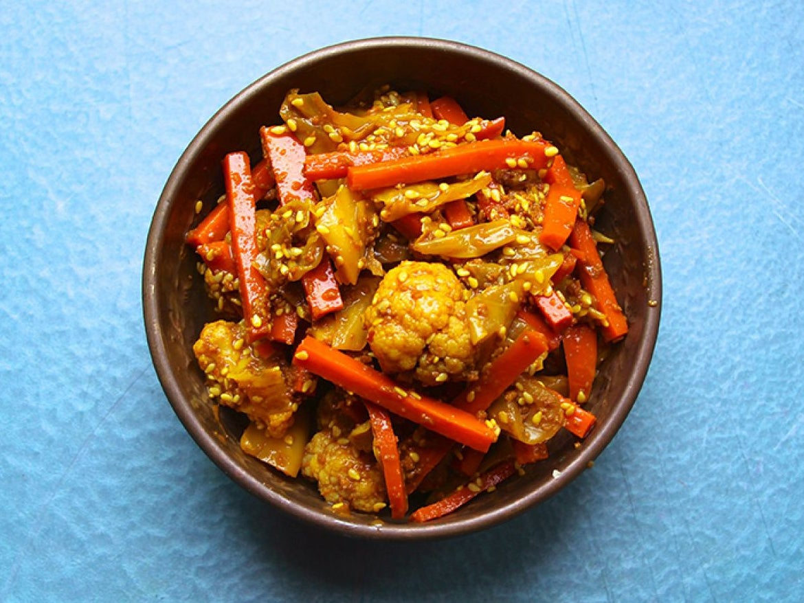 Cauliflower, Cabbage, and Carrot Achaar (Malaysian-Style Pickle)