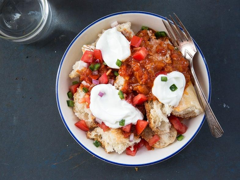 Eritrean Spicy Tomato Bread Salad with Yogurt (Fata)