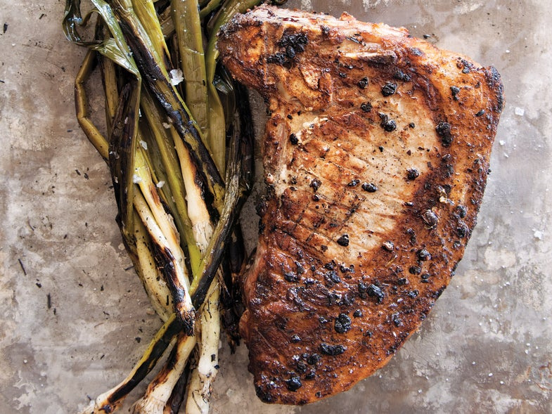 Lummi Island, Verjus-Brined Pork Chops with Marinated Leeks