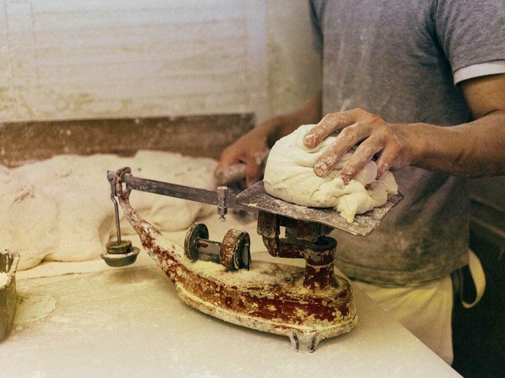 Daisuke weighing dough