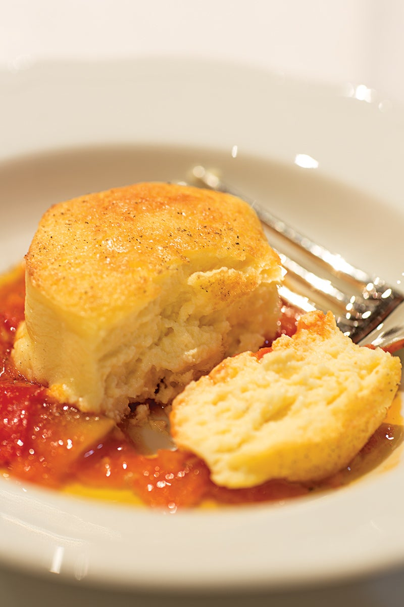 Pecorino Flans with Tomato Sauce