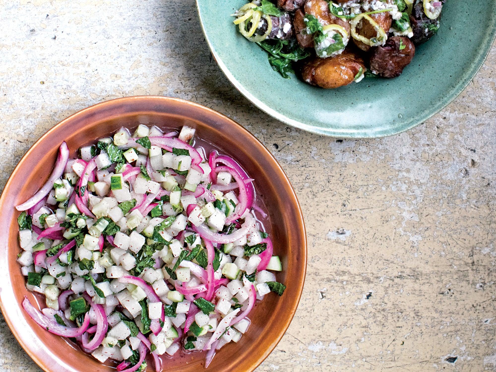Cucumber, Pear, and Sumac–Onion Salad