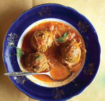 Herb Meatballs in Tomato-Plum Sauce (Kufteh)