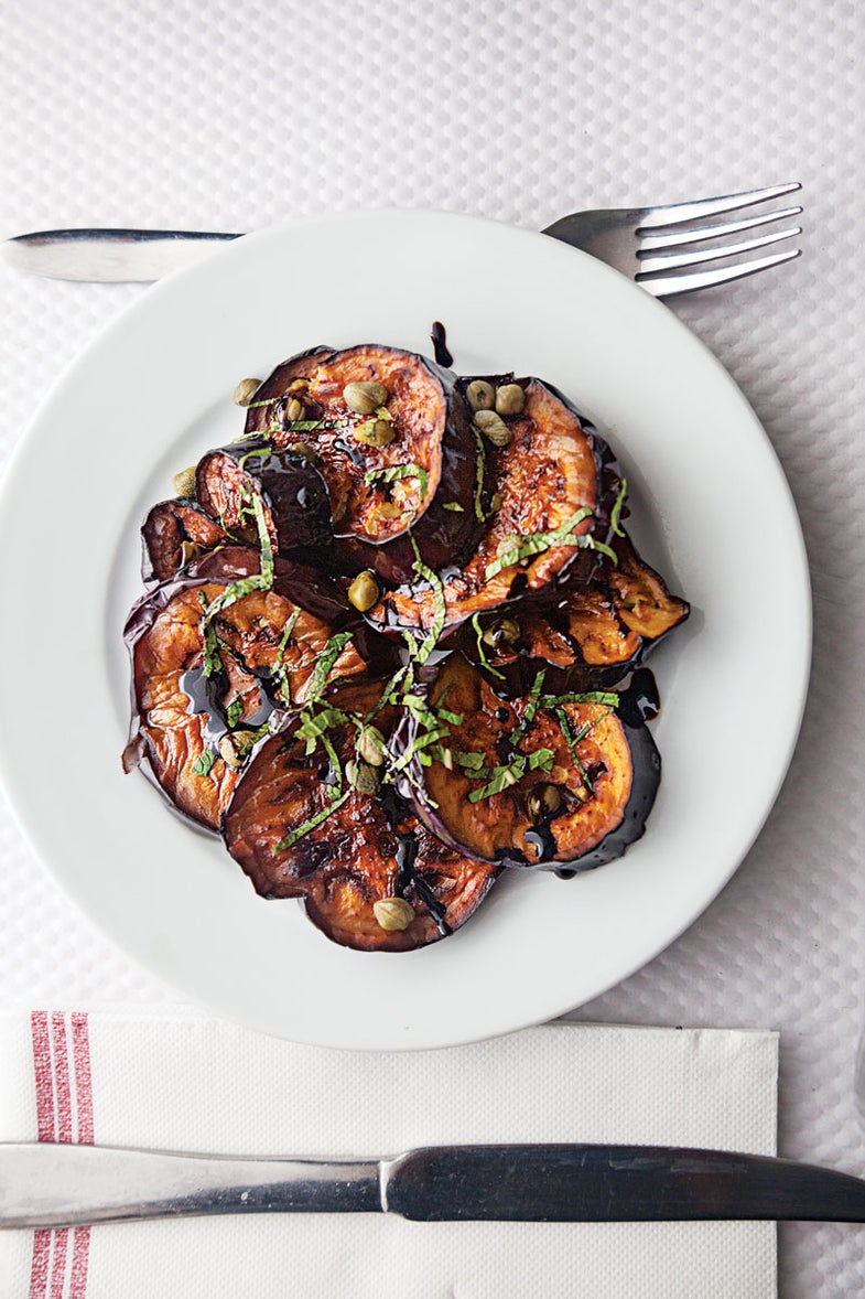Pan-Fried Eggplant with Balsamic, Basil, and Capers