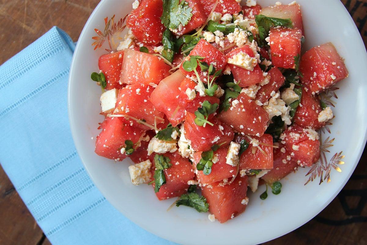 Watermelon Salad with Cilantro, Radish Sprouts, and Cotija