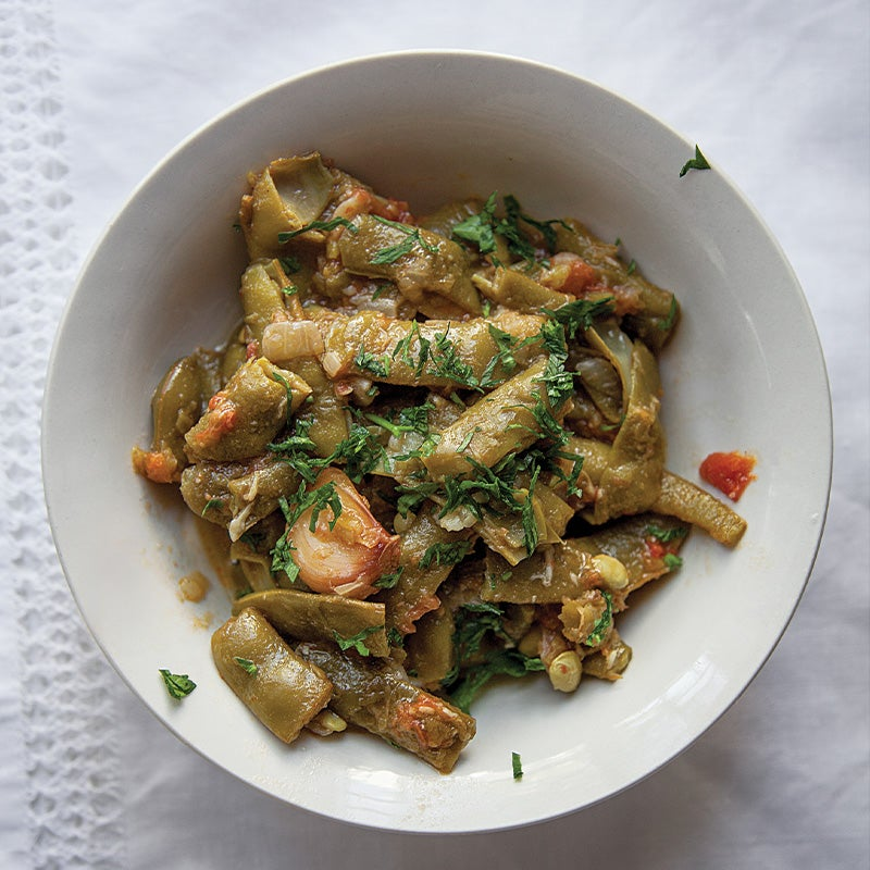 Romano Beans with Tomatoes (Loubieh bil Zeit)