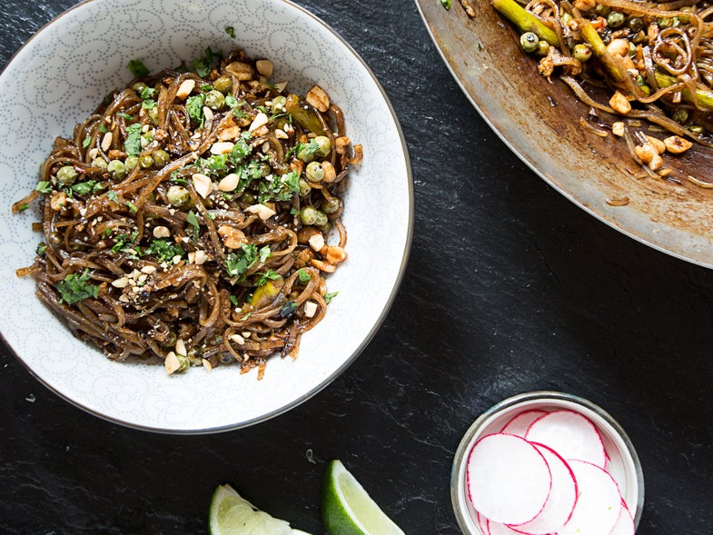 Springy Pad Thai with Green Garlic, Asparagus, and Peas