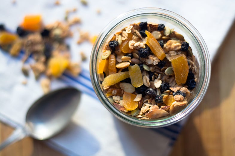 Homemade Granola with Apricots, Blueberries, and Almonds