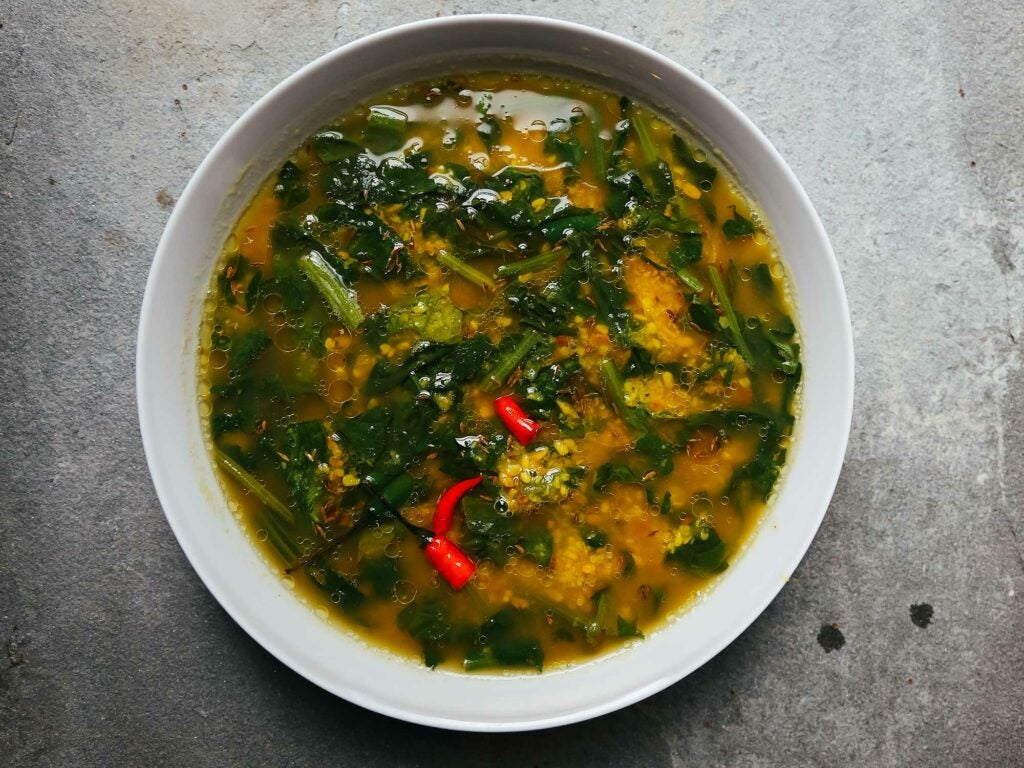 Indian Roasted Moong Dal with Spinach