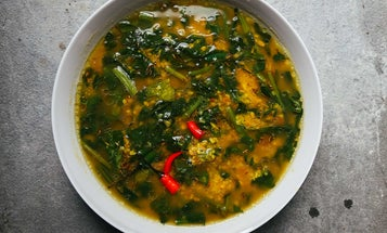 Roasted Moong Dal with Spinach