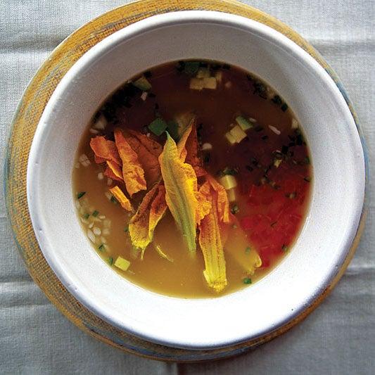 Squash Blossom Soup (Caldo Xochitl con Flor de Calabaza)