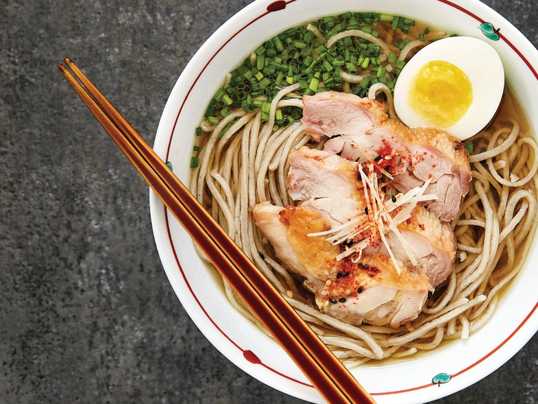 Hot Soba Noodles with Chicken and Egg