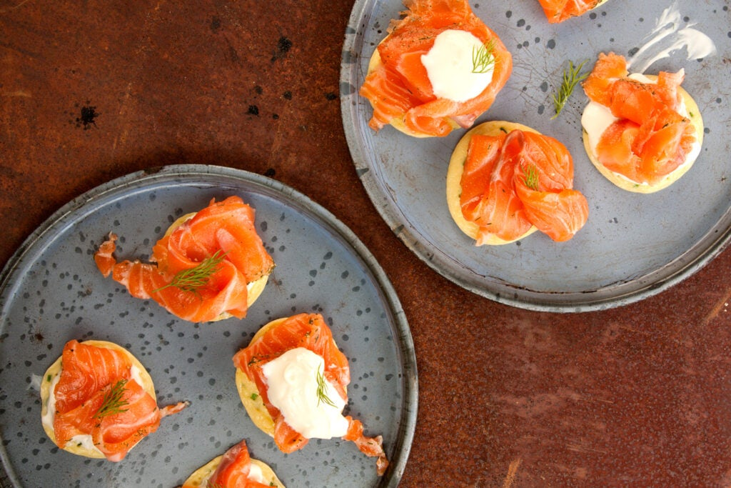 Cured Salmon with Thin Pancakes (Gravlax with Blinis)