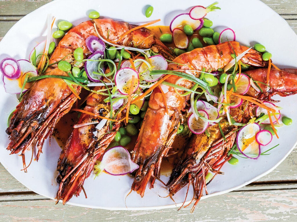 Prawns with Edamame Slaw and Carrot Miso Sauce