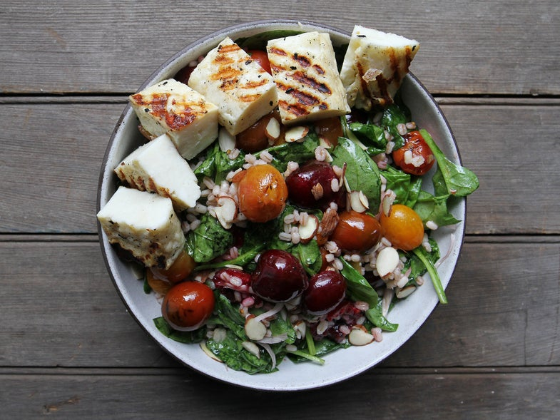 Simple Weeknight Meal, Grilled Halloumi and Cherry Salad