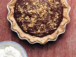 Chocolate Chess Pie with Cornbread Crumble