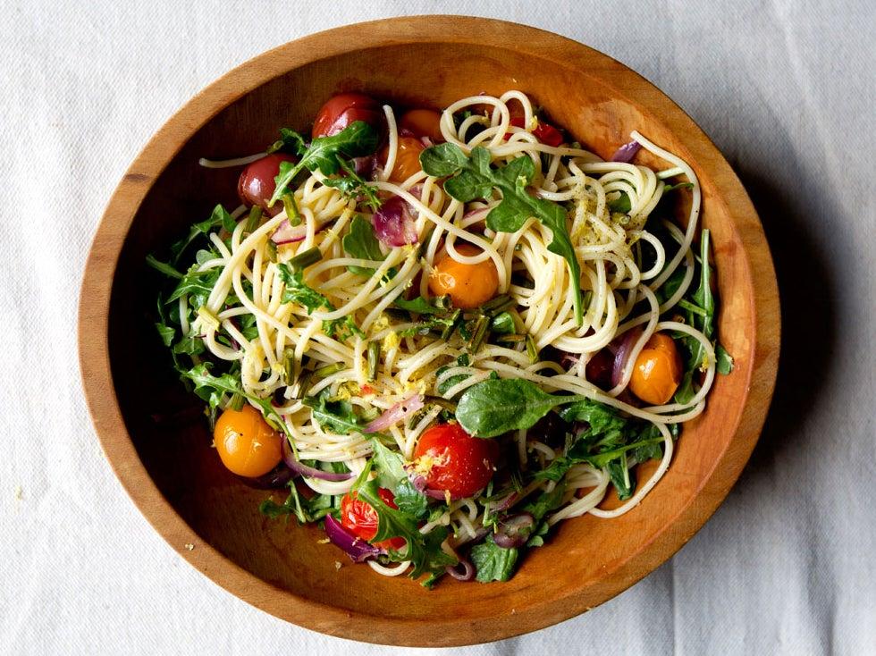 Garlic Scape and Cherry Tomato Pasta