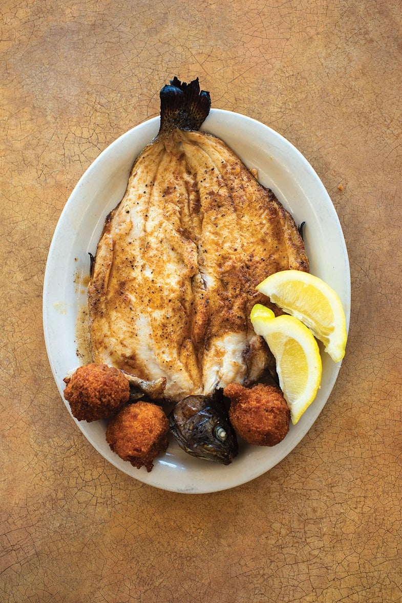 Broiled Rainbow Trout with Hush Puppies