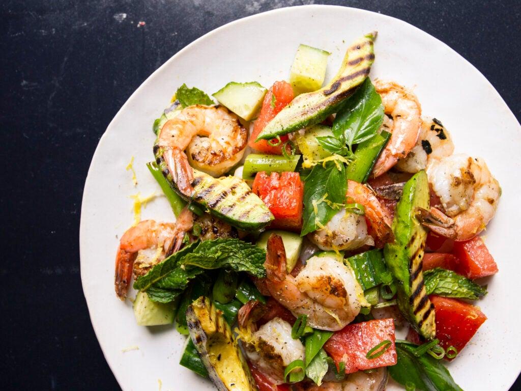 Grilled Watermelon, Avocado, and Shrimp Salad
