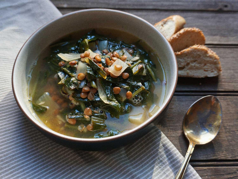 Dandelion Lentil Soup