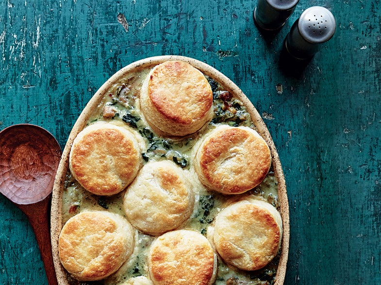 Oyster Pie with Buttermilk Biscuits