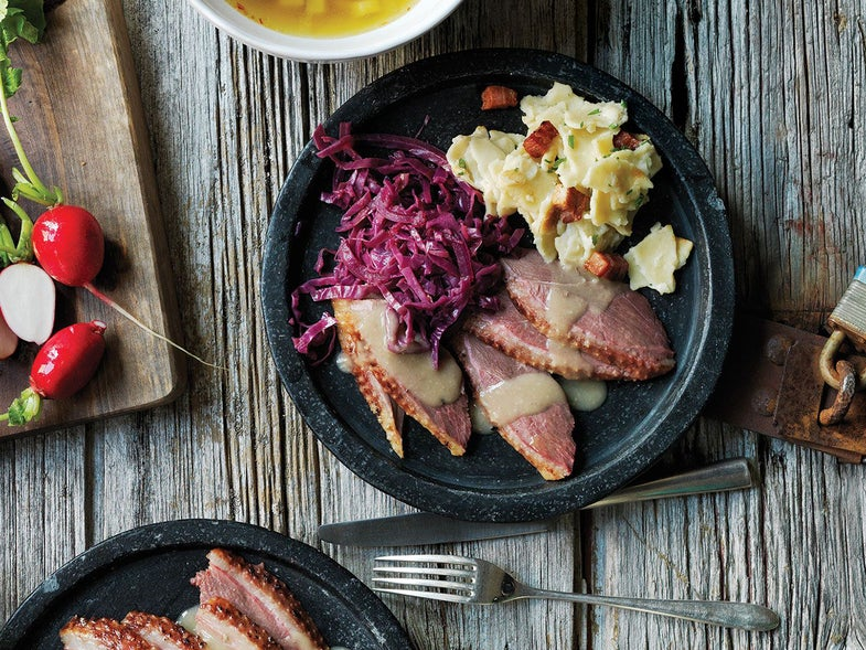 Roast Goose with Apple-Chestnut Stuffing
