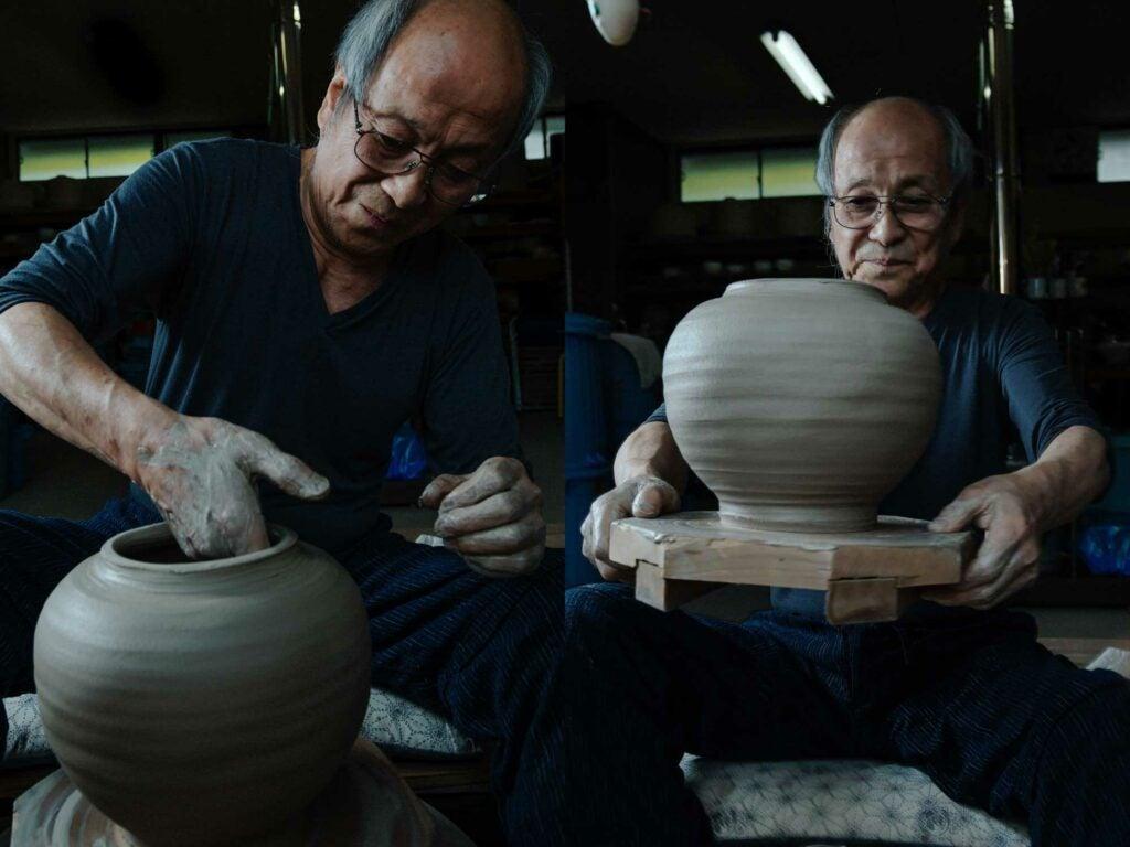 Kimura shapes the wall of a large pot
