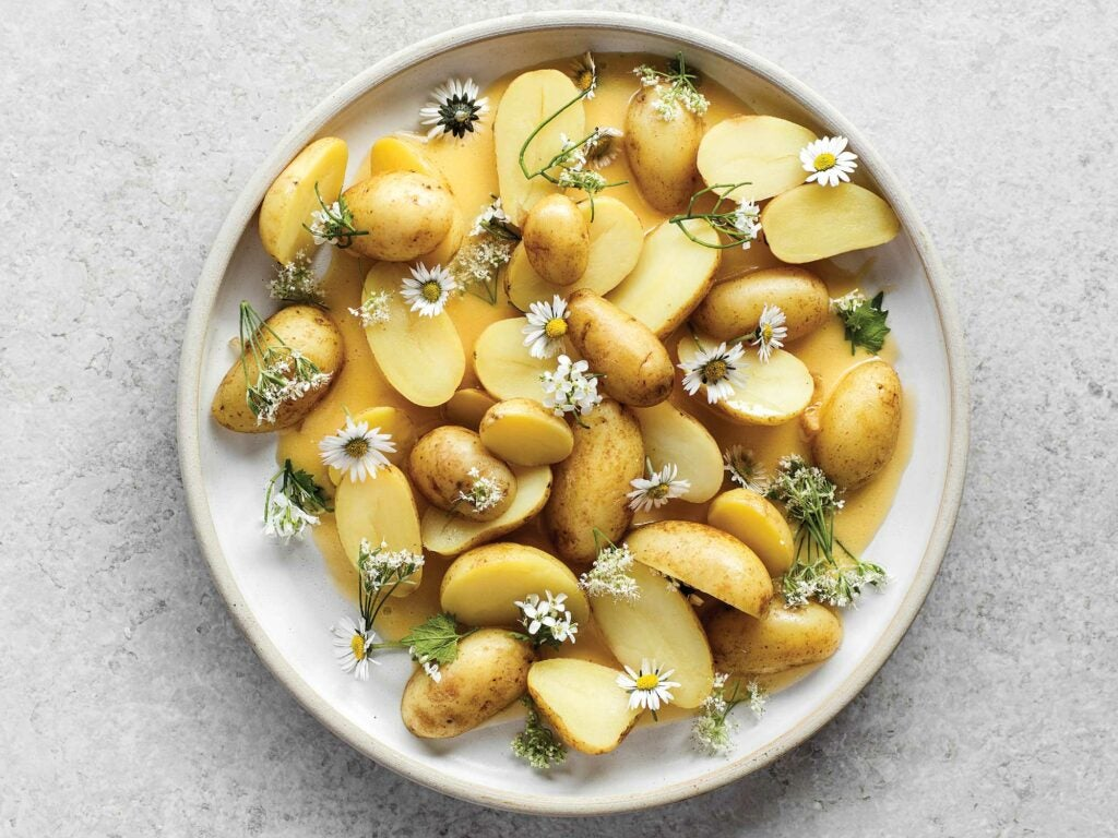 Chamomile-Pickled New Potatoes with Beurre Blanc